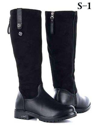 РАСПРОДАЖА 37 размер! Женские черные  высокие замшевые кожаные (эко) сапоги черные сапожки, фото 2