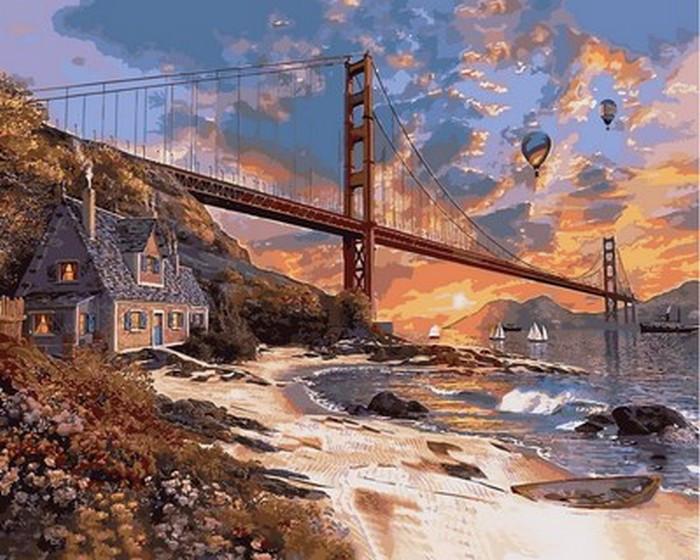 Картина по номерам Закат над Сан-Франциско (VP825) Турбо 40 х 50 см