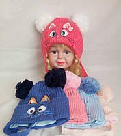 Детская вязаная  шапка для девочки внутри хб р 46-48 оптом