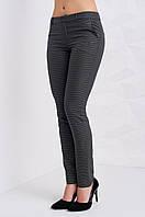 Классические женские брюки в мелкую черную клетку, серого цвета