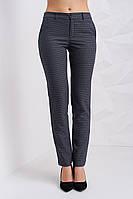 Классические женские брюки в мелкую синюю клетку, серого цвета