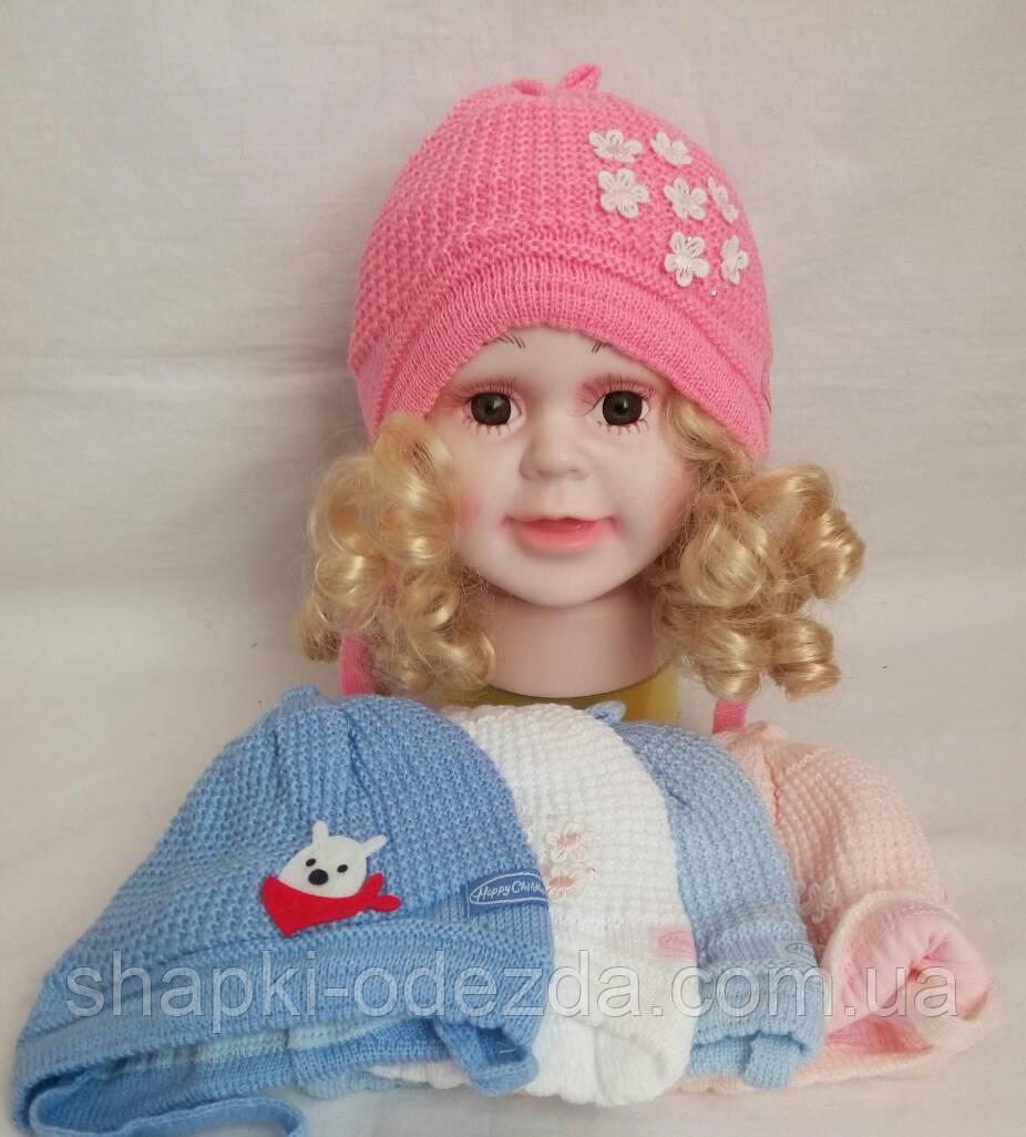 Детская вязаная шапка для девочки подкладка хб р33-36 оптом