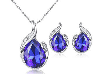 Комплект сережки з підвіскою Primo Lasperal - Blue