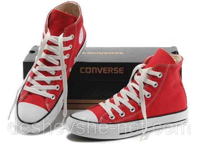 Кеды в стиле  Converse ALL STAR (конверсы) Красные высокие в коробке