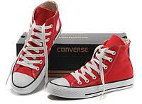 Кеды в стиле  Converse ALL STAR (конверсы) Красные высокие в коробке, фото 1