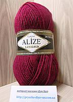 Полушерстяная пряжа (49%-шерсть,51%-акрил,100г/240м) Alize Lanagold 390(вишня)