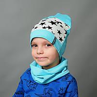 Комплект шапка и хомут весна для мальчика Алекс
