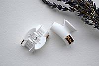 Зажим для волос краб, каучук, длина 3 см, с украшением белого цвета
