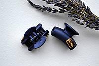 Зажим для волос краб, каучук, длина 3 см, с украшением темно-синего цвета