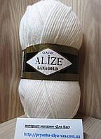 Полушерстяная пряжа (49%-шерсть,51%-акрил,100г/240м) Alize Lanagold 55(белый)