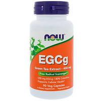 Now Foods, ЭГКГ, экстракт зеленого чая, 400 мг, 90 растительных капсул