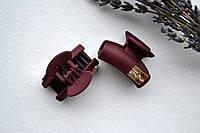 Крабик для волос, каучук, длина 3 см, с украшением бордовый