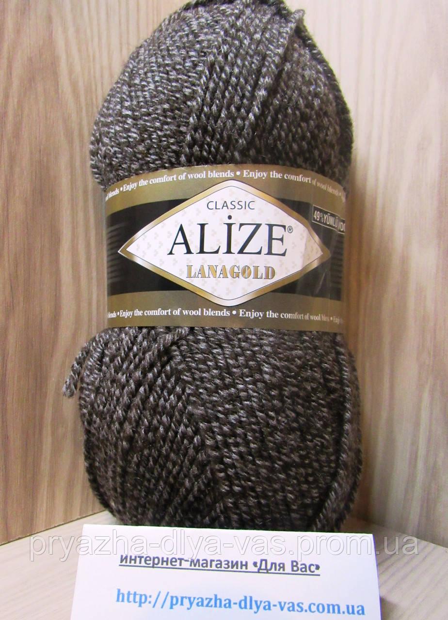 Полушерстяная пряжа (49%-шерсть,51%-акрил,100г/240м) Alize Lanagold 904(коричневый меланж)