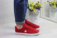 Женские кеды Converse All Star замшевые летние молодежные (красные с белым), ТОП-реплика, фото 1