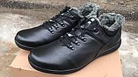 Мужские зимние кожаные короткие ботинки Big Boss черные 46, 47, 48, 49, 50