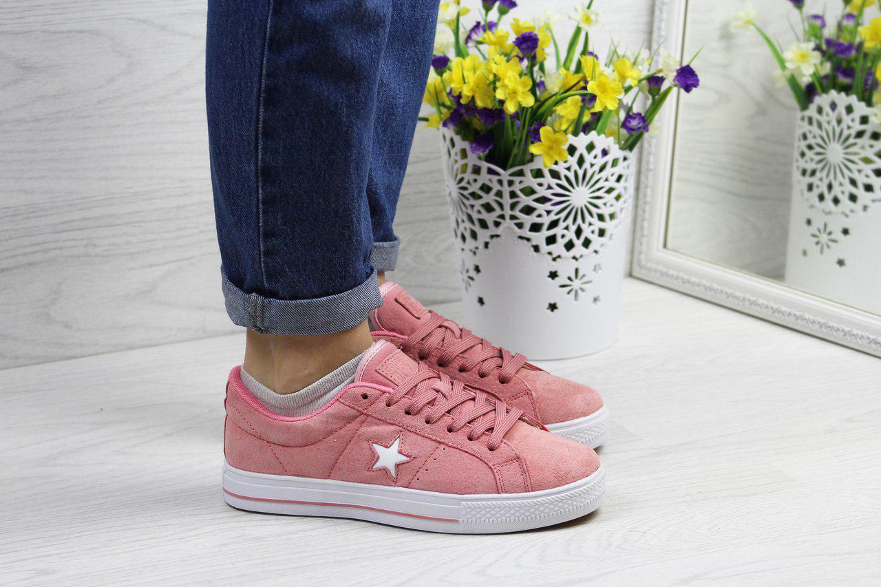 Кеды женские Converse All Star замшевые модные лето-осень (розовые), ТОП-реплика
