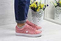 Кеды женские Converse All Star замшевые модные лето-осень (розовые), ТОП-реплика, фото 1