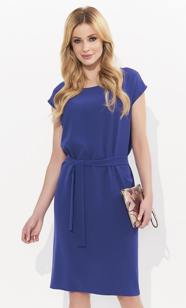 e421efcb28d0a6a Летнее женское платье в классическом стиле с поясом в комплекте. Круглый  вырез горловины, короткий рукав, пошито из легкого, приятного материала.