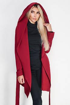 Весняні пальто великих розмірів -ЛАГЕРТА - бордовий