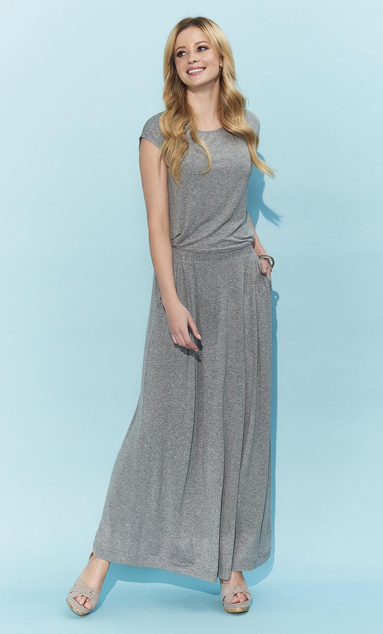 Летнее платье макси Valery Zaps серого цвета