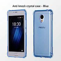 Силиконовый чехол бампер на Meizu M3s blue прозрачный усиленные углы!