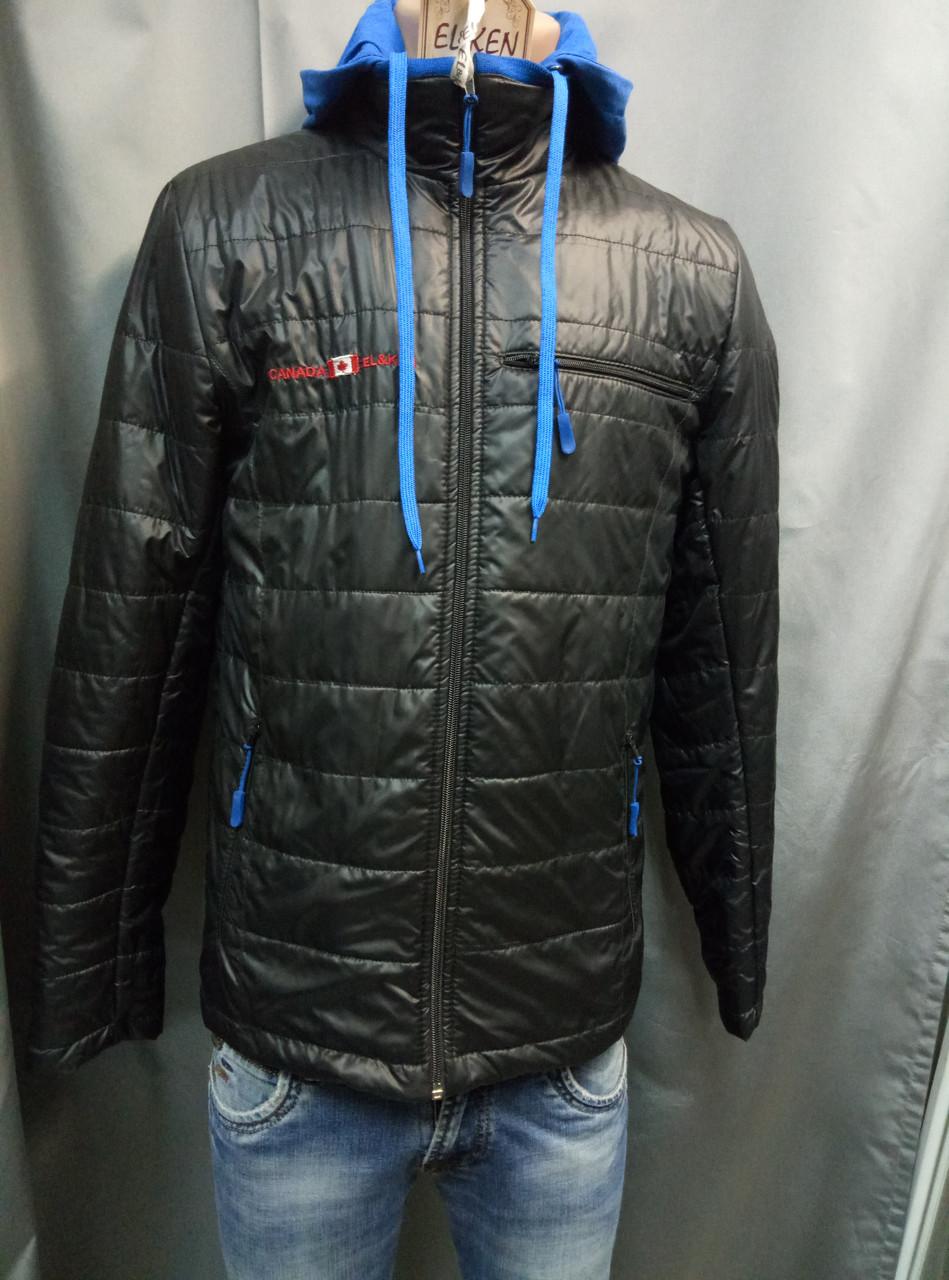2e93c78f642 Черная мужская куртка с синим трикотажным капюшоном EL KEN - For men в  Житомире