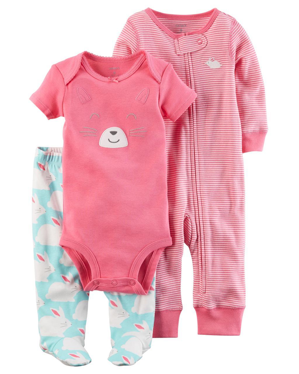 Комплект одежды из 3-х единиц для девочки Carters зайчик