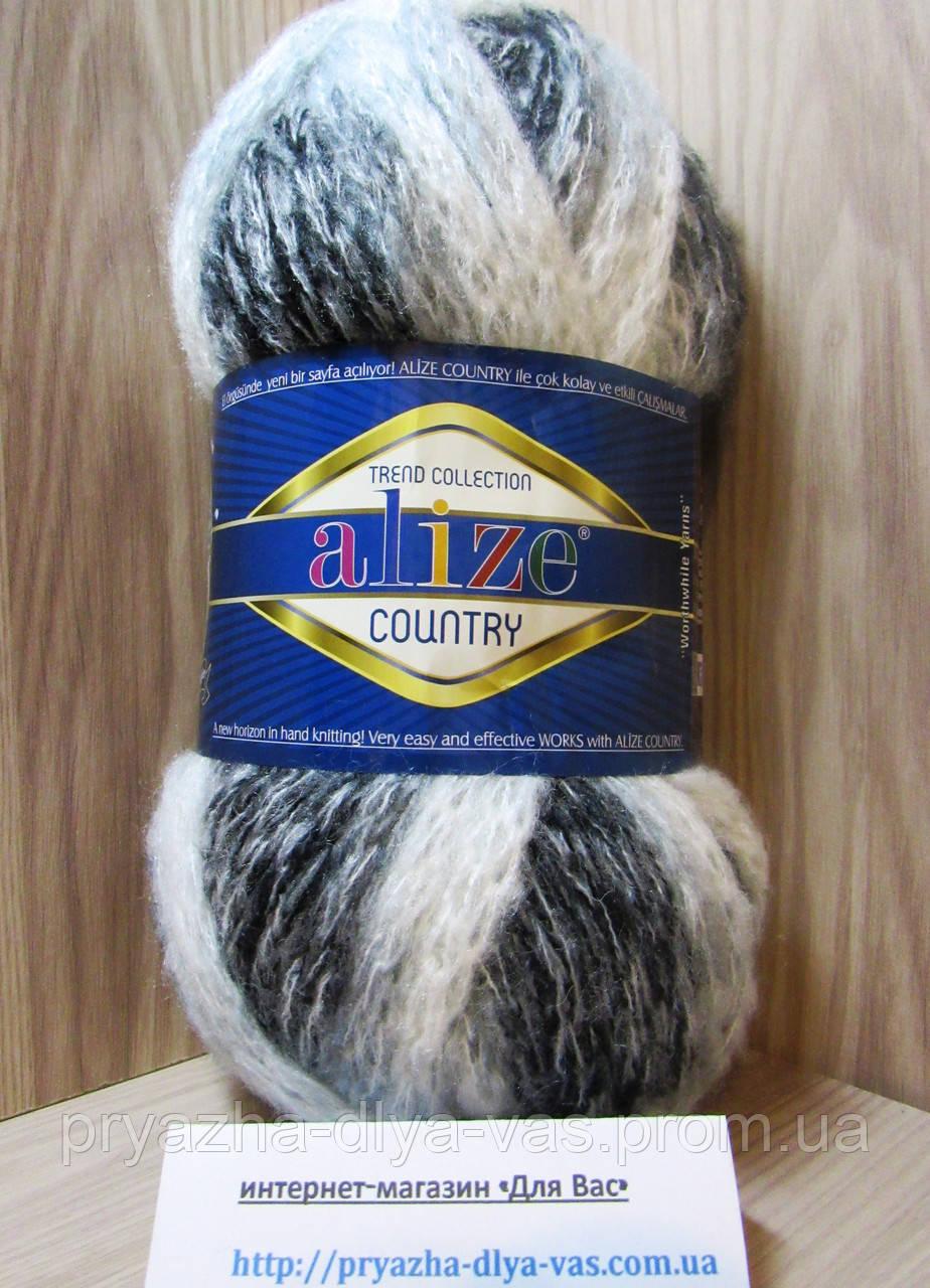 Толстая фантазийная пряжа (100г/34м; 20%-шерсть, 25%-полиамид, 55%-акрил) Alize Country 5323(чернобурка)