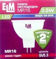 Лампа светодиодная ELM led MR16 3.5W PA10L GU5.3 4000 , фото 1