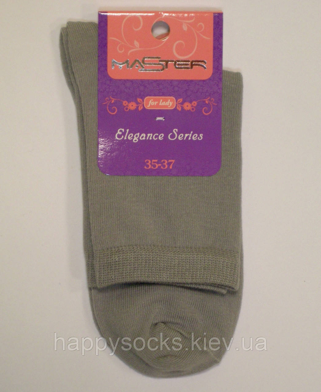 Высокие женские носки серого цвета однотонные