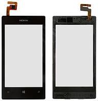 Сенсорное стекло для Nokia 520 Lumia/525 Lumia, черный, с передней панелью, оригинал