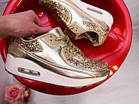 Кроссовки женские золото реплика Nike Air Max 36-41 паетки блестки, фото 1
