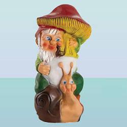 Декоративная садовая фигурка статуэтка для декора сада Гном с грибом (М)
