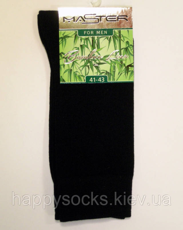 Бамбуковые бесшовные высокие носки черного цвета мужские