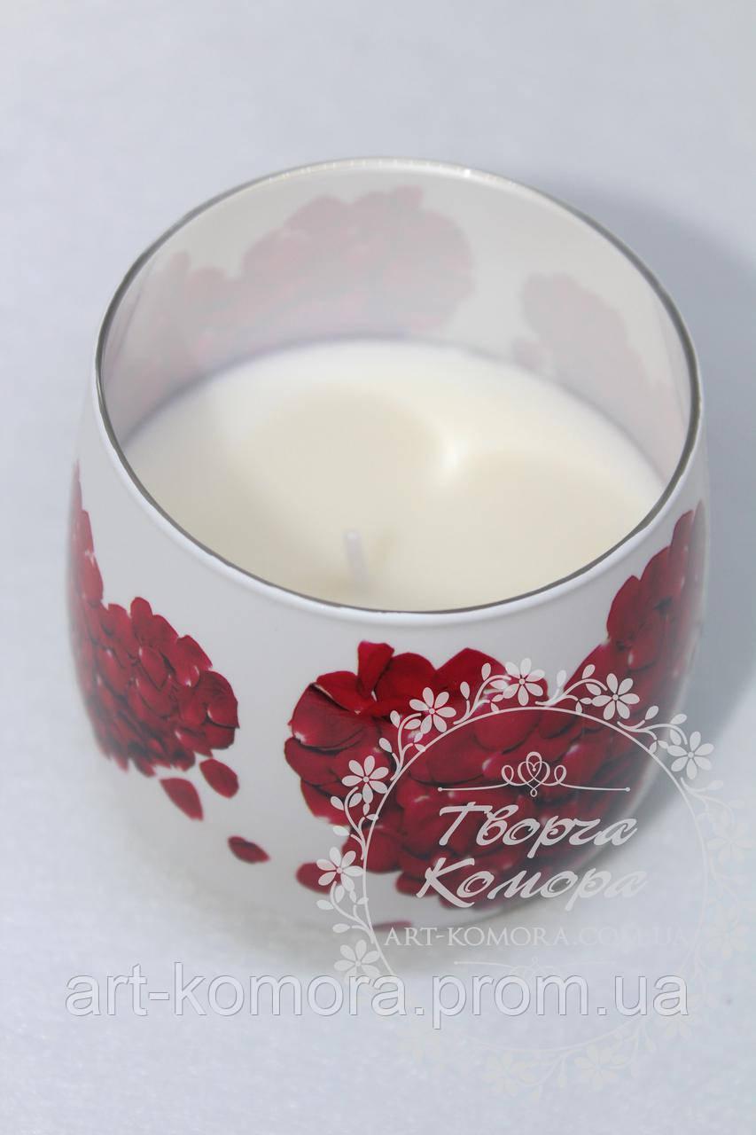 "Ароматизированная свеча ""Лепестки роз"", 6,5 см х 6,5 см"