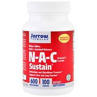 Jarrow Formulas, N-A-C Sustain, N-ацетил-L-цистеин, 600 мг, 100 таблеток