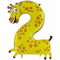 """Фольгированный шар Цифра """"2"""", Жираф, высота 50 см"""