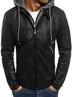 Куртка кожаная со сьемным капюшоном (качественный кож-зам), фото 1