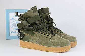 Высокие Кроссовки Nike Air Force 1 осенние женские зеленые