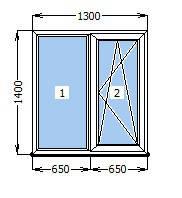 Окно  1300 х 1400