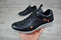 Мужские кроссовки Ecco кожаные черные  (Реплика ААА+), фото 1