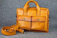 Кожаный портфель Ralf под ноутбук | Италия Янтарь, фото 1