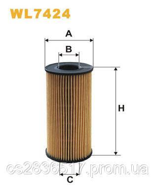 Масляный фильтр  WL7424WIX  ( B1X031PR, F 026 407 014, OX441D )