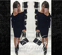 Платье из ангоры длинный рукав миди с воланом черное