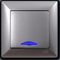 Выключатель с подсветкой серебро Gunsan Visage