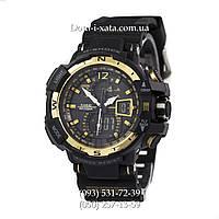 Электронные часы Casio G-Shock GW A1100 Black Gold, спортивные часы Джи Шок(черно золотистые), реплика, отличное качество!