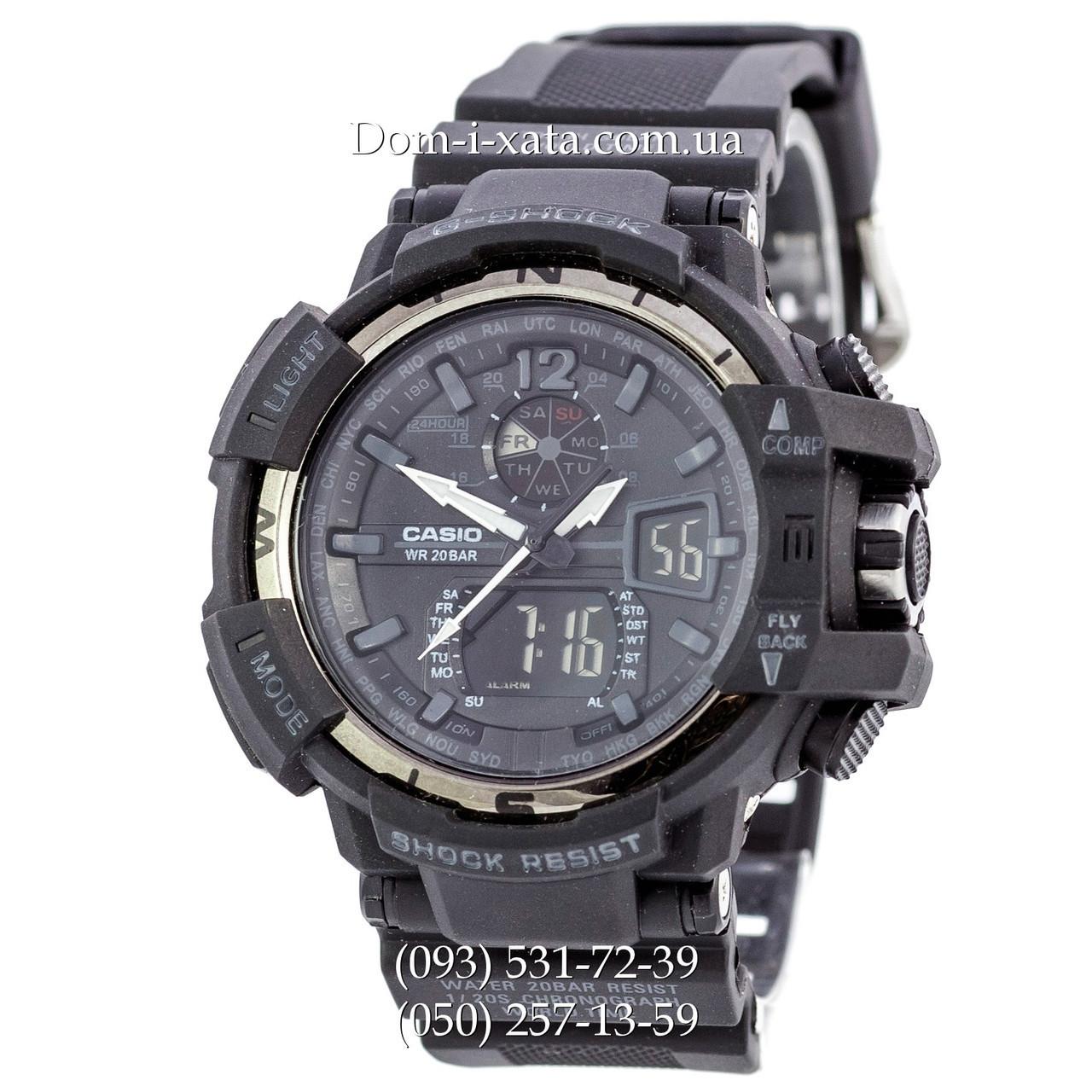 Электронные часы Casio G-Shock GW A1100 Black Silver, спортивные часы Джи Шок(черные), реплика, отличное качество!