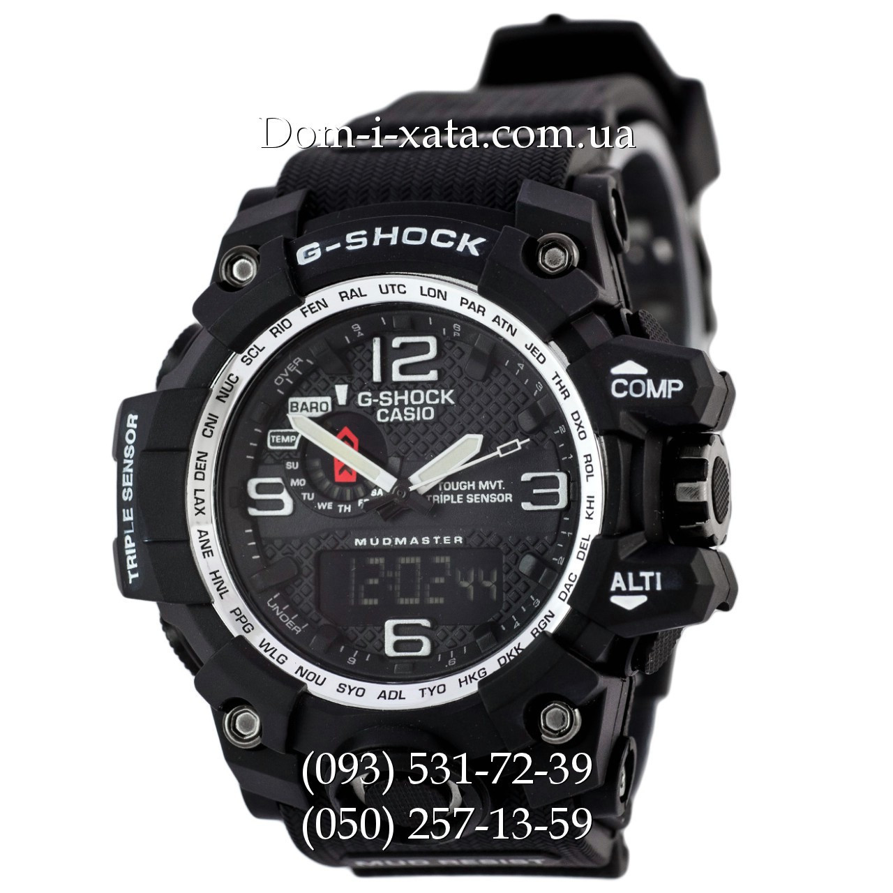 Электронные часы Casio G-Shock GWG 1000 Black/Silver, спортивные часы Джи Шок черные, серебристый циферблат, реплика, отличное качество!