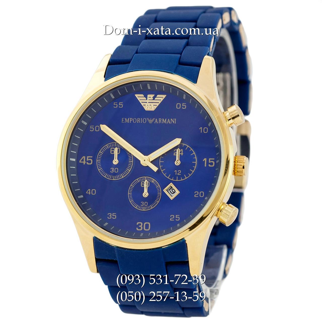 Мужские часы Emporio Armani blue-gold, элитные часы Эмпорио Армани синий-золото, реплика, отличное качество!