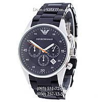 Часы элитные мужские Emporio Armani black-silver, Эмпорио Армани черный-серебро